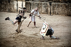 Retiarius gladiator jump Royalty Free Stock Photos