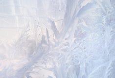 Reticoli del ghiaccio sul vetro di inverno Fondo congelato Natale Inverno che tonifica effetto immagine stock libera da diritti