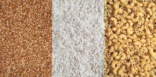 Reticoli del grano saraceno, del riso e della pasta Immagini Stock