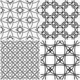 Reticoli geometrici Elementi neri sugli ambiti di provenienza bianchi Immagini Stock