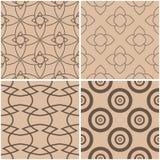 Reticoli geometrici Insieme degli ambiti di provenienza senza cuciture beige e marroni Illustrazione di vettore Fotografia Stock