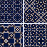 Reticoli geometrici Insieme degli ambiti di provenienza senza cuciture blu dorati Fotografie Stock