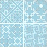 Reticoli geometrici Insieme degli ambiti di provenienza senza cuciture blu e bianchi Immagine Stock