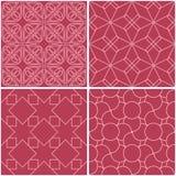 Reticoli geometrici Insieme degli ambiti di provenienza senza cuciture rossi pallidi Fotografia Stock Libera da Diritti