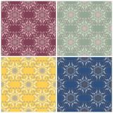 Reticoli senza giunte floreali Insieme degli ambiti di provenienza colorati con gli elementi del fiore Fotografia Stock