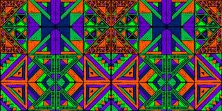 Reticolo africano senza giunte Ornamento etnico sul tappeto Stile azteco Figura ricamo tribale Indiano, messicano, modello piega illustrazione vettoriale