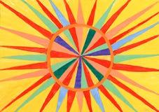 Reticolo astratto del sole. acquerello su documento Fotografia Stock Libera da Diritti