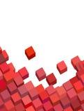 Reticolo astratto rosa-rosso del cubo su bianco Immagini Stock