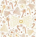 Reticolo astratto senza giunte Fondo sveglio del pizzo con i cuori, le ali di angelo, le lecca-lecca, i sugarplums ed i fiocchi d Fotografie Stock