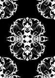 Reticolo bianco senza giunte del damasco della siluetta sul nero Fotografie Stock