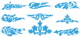Reticolo blu della siluetta del fiore illustrazione di stock