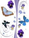Reticolo blu di farfalle dell'albero e dei fiori Immagine Stock Libera da Diritti