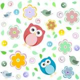 Reticolo colourful senza giunte del gufo per i bambini illustrazione di stock
