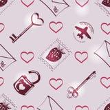 Reticolo con i simboli di amore Fotografie Stock