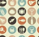 Reticolo con le icone dell'alimento e del ristorante Fotografia Stock Libera da Diritti