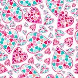 Reticolo del biglietto di S. Valentino con i cuori di amore. Immagine Stock Libera da Diritti