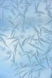 Reticolo del Hoarfrost su vetro Fotografia Stock