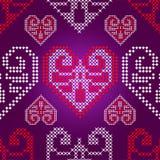 Reticolo dell'ornamento di feste con i cuori del biglietto di S. Valentino, v Fotografia Stock