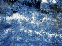 Reticolo della neve sul vetro Fotografia Stock