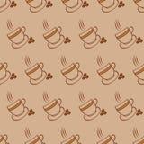 Reticolo delle tazze e dei fagioli di caffè Immagini Stock