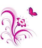 Reticolo di fiore con la farfalla Fotografie Stock Libere da Diritti