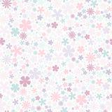 Reticolo di fiore senza giunte Fiori piani dei colori pastelli su fondo bianco Immagine Stock Libera da Diritti