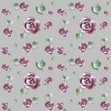 Reticolo di fiore Reticolo senza giunte floreale Fiorisca il giardino ornamentale - acquerello fatto a mano illustrazione di stock