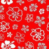 Reticolo di fiore senza giunte sopra colore rosso Fotografia Stock