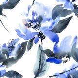 Reticolo di fiori blu Immagini Stock