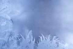 Reticolo di gelo su un vetro di finestra Fotografie Stock Libere da Diritti
