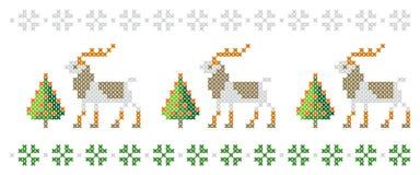Reticolo di nuovo anno Alberi di Natale, cervi e fiocchi di neve Buon Natale, illustrazione del buon anno illustrazione di stock