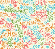 Reticolo di onde disegnato a mano astratto senza giunte, ondulato Fotografia Stock Libera da Diritti