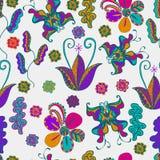 Reticolo di vettore fondo leggero, farfalle, fiori, foglie molti, fondo tribale multicolore dell'estratto di struttura per Busin Immagini Stock