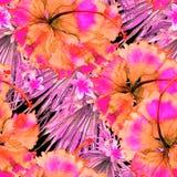 Reticolo esotico Fondo dell'acquerello di estate Fotografia Stock Libera da Diritti