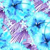 Reticolo esotico Fondo dell'acquerello di estate Immagini Stock Libere da Diritti