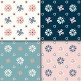 Reticolo floreale astratto senza giunte 4 variazioni di colori, colori pastelli illustrazione vettoriale