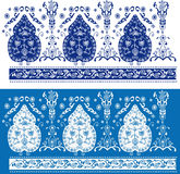 Reticolo floreale blu e bianco Fotografie Stock