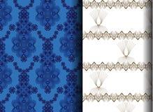 Reticolo floreale blu e bianco Immagini Stock