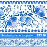Reticolo floreale blu nazionale russo Fotografia Stock Libera da Diritti