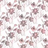 Reticolo floreale delicato senza giunte Foglie rosa dei fiori su un fondo bianco illustrazione vettoriale