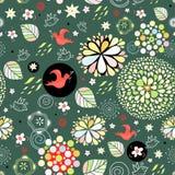 Reticolo floreale della sorgente con gli uccelli rossi Fotografia Stock