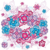 Reticolo floreale disegnato a mano artistico Fotografie Stock
