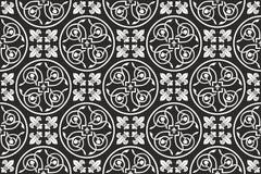 Reticolo floreale gotico senza giunte in bianco e nero Fotografia Stock