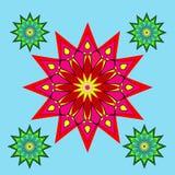 Reticolo floreale rotondo ornamentale Floreale astratto verde e rosso Fotografia Stock Libera da Diritti
