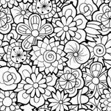 Reticolo floreale senza giunte in bianco e nero Fotografia Stock