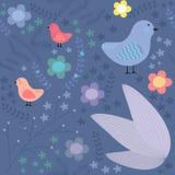 Reticolo floreale senza giunte con gli uccelli Fotografie Stock Libere da Diritti