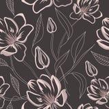 Reticolo floreale senza giunte con i fiori della magnolia Fotografie Stock