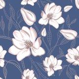 Reticolo floreale senza giunte con i fiori della magnolia Immagini Stock Libere da Diritti