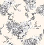 Reticolo floreale senza giunte con i fiori e gli uccelli Immagine Stock Libera da Diritti