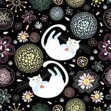 Reticolo floreale senza giunte con i gatti Immagini Stock